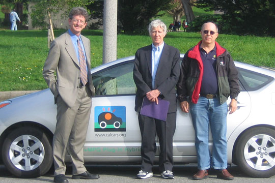 Felix Kramer, Ron Gremban and Lester Brown with the PRIUS+ plug-in hybrid