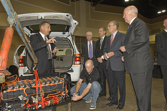 Hymotion Execs and North Dakota dignitaries view a 2008 Ford Escape PHEV in Bismark, late Oct, 2007