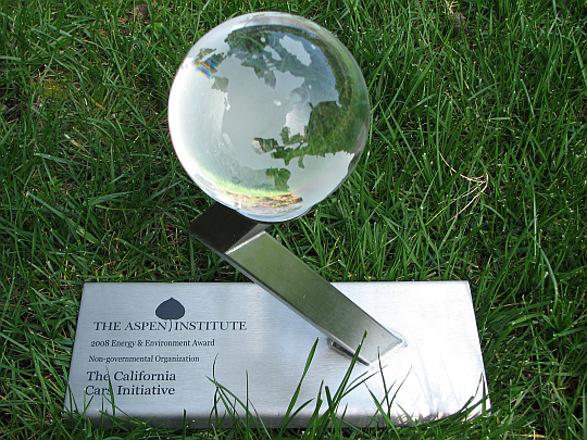 Award received by CalCars from the first Aspen Institute Environmental Forum, March 2008.