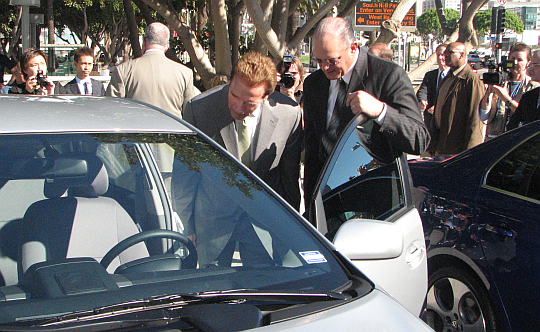 Toyota VP of Communications Irv Miller with Governor Schwarzenegger, at the LA Auto Show, November 2007